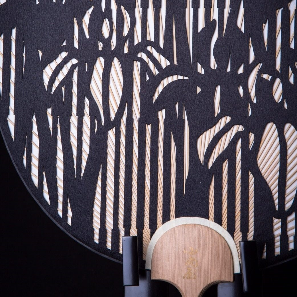 Cutting-Round-fan-Japanese-traditional-Checked-pattern-and-Iris-2