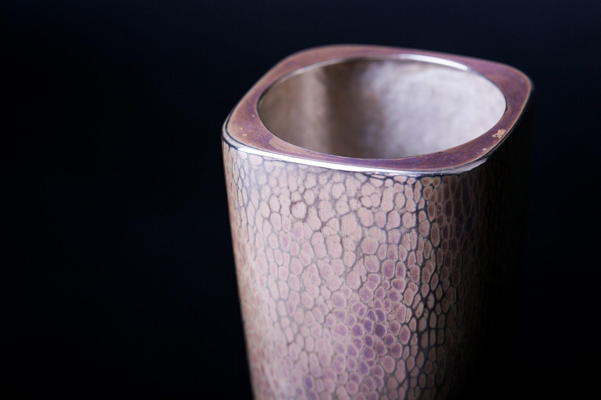 Pure Silver Vase   Square Type-Syakutate