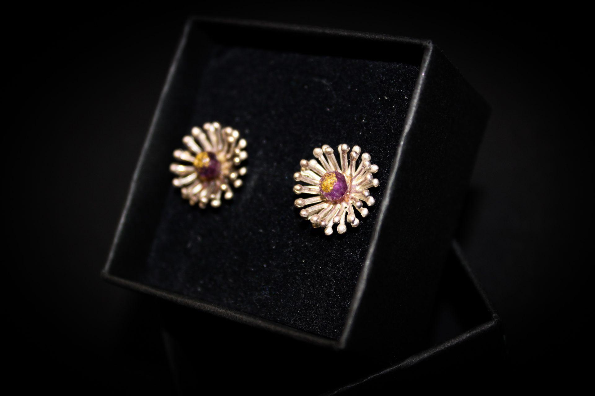 Sterling Silver Earrings   Purple Flower Earrings