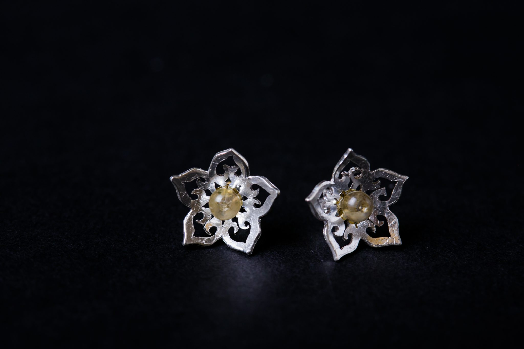 Sterling Silver Earrings |  Cracked Crystal