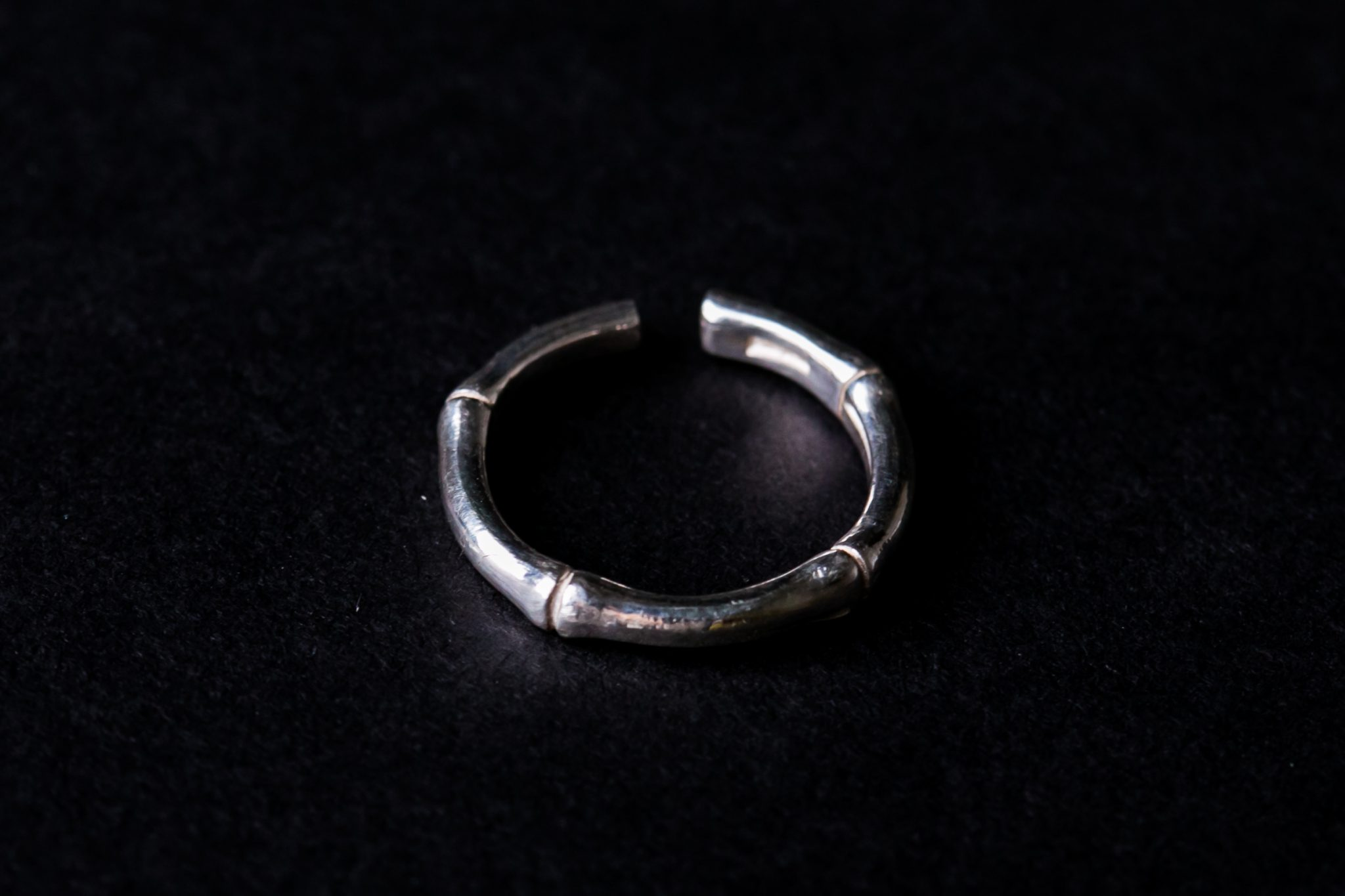 Sterling Silver Rounded Ring | Bamboo Motif