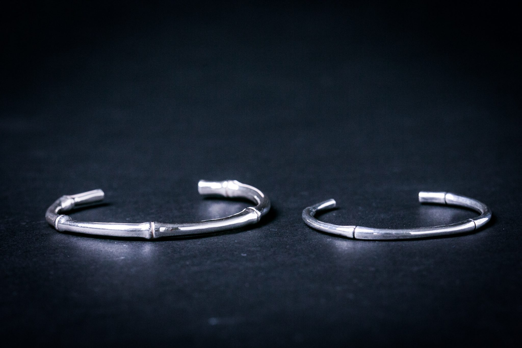 Sterling Silver Rounded Bracelet | Bamboo motif