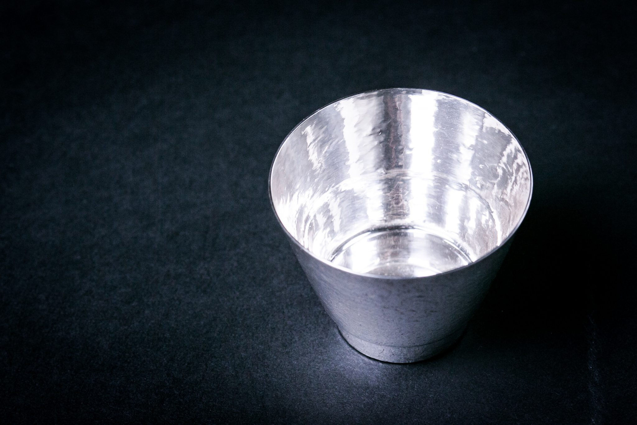 Pure Silver Forge Sake Cup | Stepped Shape