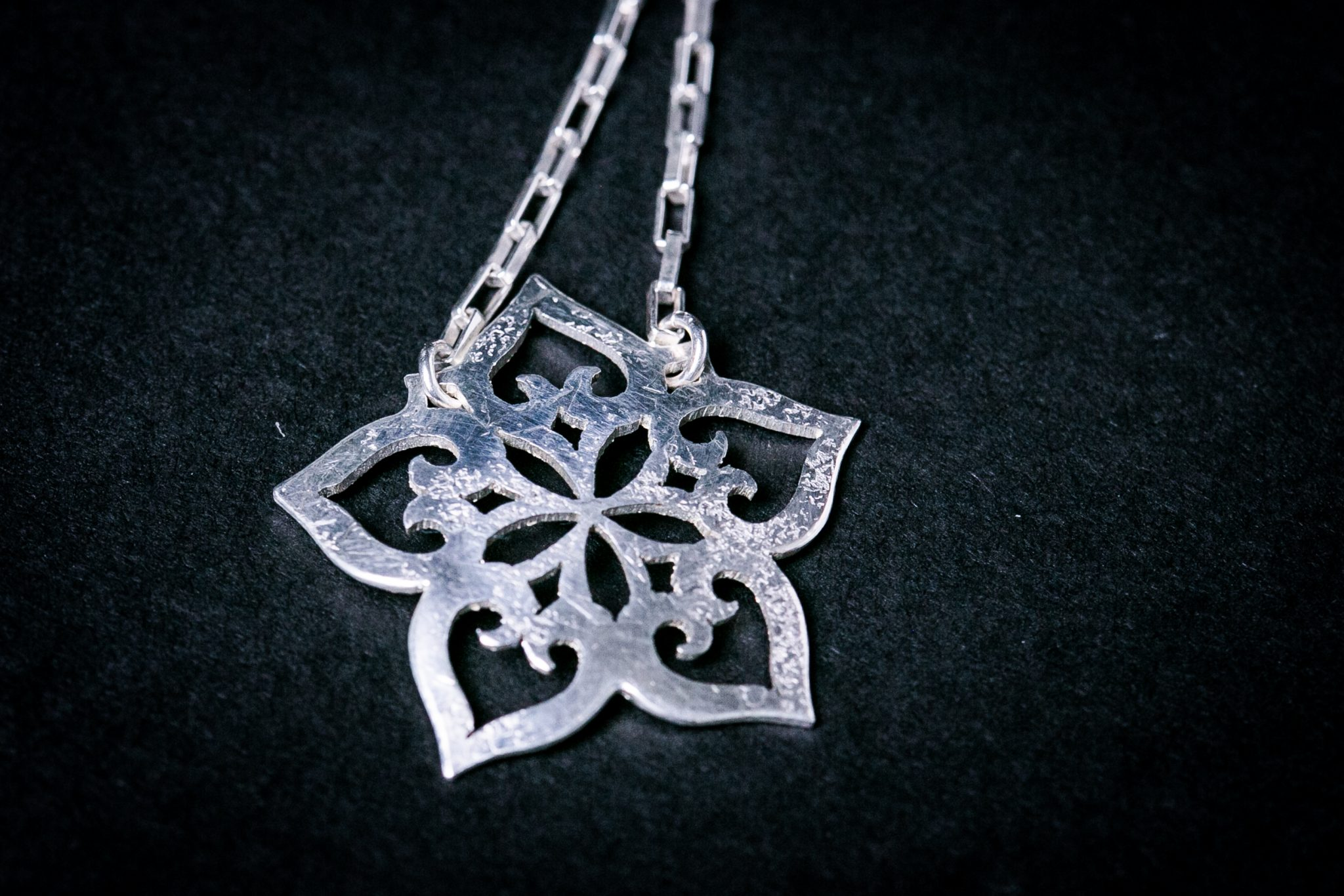 Sterling Silver Forge Necklace | Hollyhock Pattern